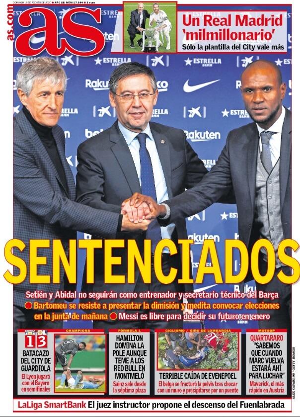 Portadas Diarios Deportivos Domingo 16/08/2020