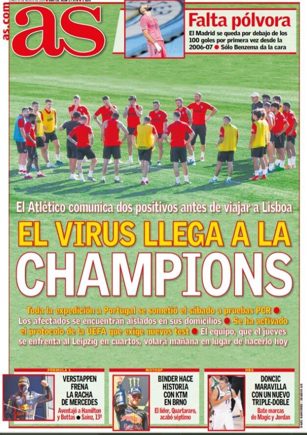 Portadas Diarios Deportivos Lunes 10/08/2020