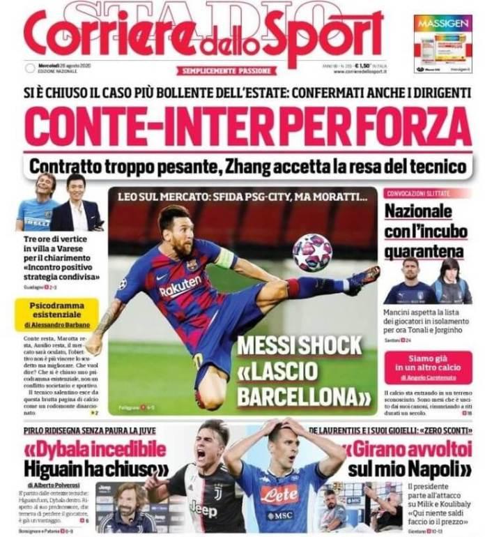 Portada Corriere dello Sport Messi se va del Barcelona