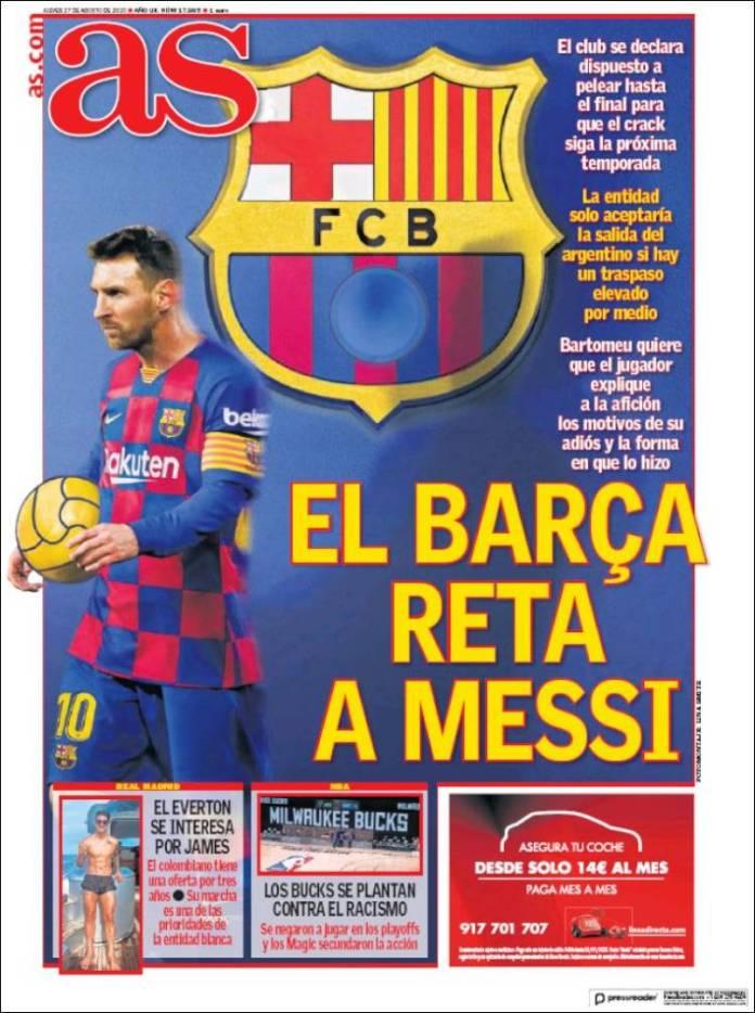 Portadas Diarios Deportivos Jueves 27/08/2020