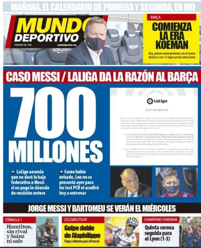 Portadas Diarios Deportivos Lunes 31/08/2020