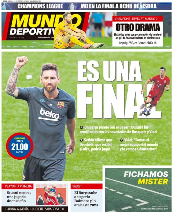 Portadas Diarios Deportivos Viernes 14/08/2020