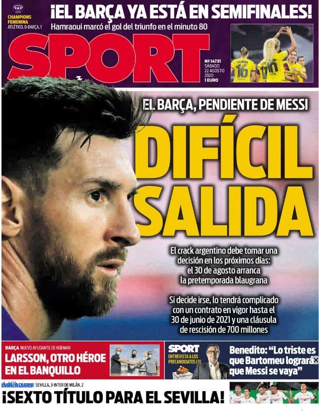 Portadas Diarios Deportivos Sábado 22/08/2020