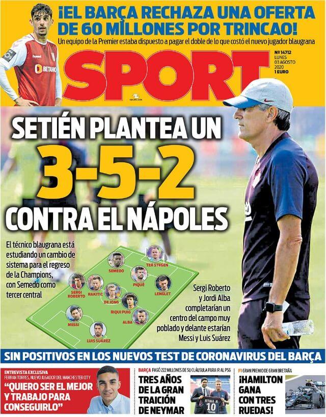 Portadas Diarios Deportivos Lunes 3/08/2020
