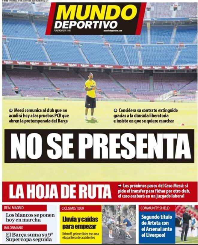 Portadas Diarios Deportivos Domingo 30/08/2020