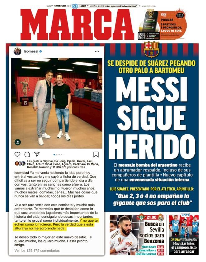 Portadas Diarios Deportivos Sábado 26/09/2020
