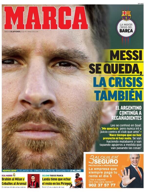 Portadas Diarios Deportivos Sábado 5/09/2020