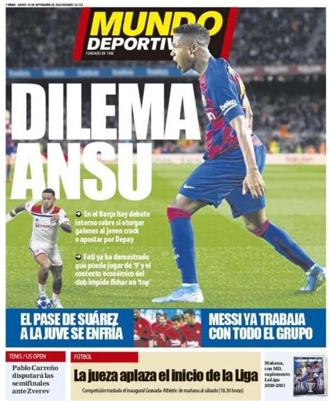 Portadas Diarios Deportivos Jueves 10/09/2020