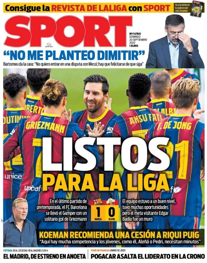 Portadas Diarios Deportivos Domingo 20/09/2020