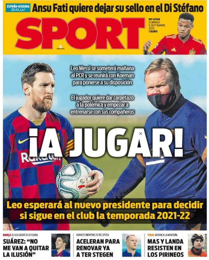 Portadas Diarios Deportivos Domingo 6/09/2020