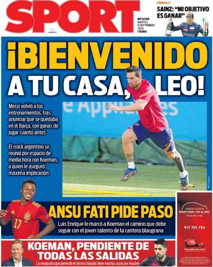 Portadas Diarios Deportivos Martes 8/09/2020