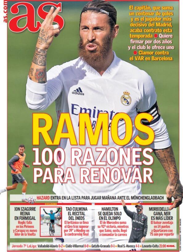 Portadas Diarios Deportivos Lunes 26/10/2020