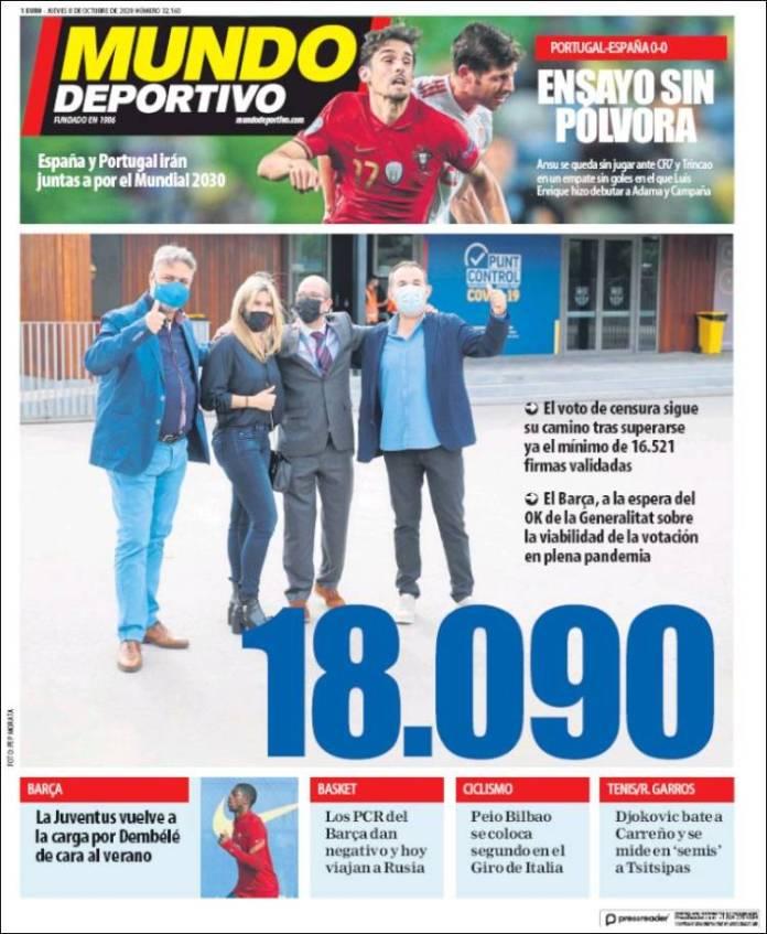 Portadas Diarios Deportivos Jueves 8/10/2020