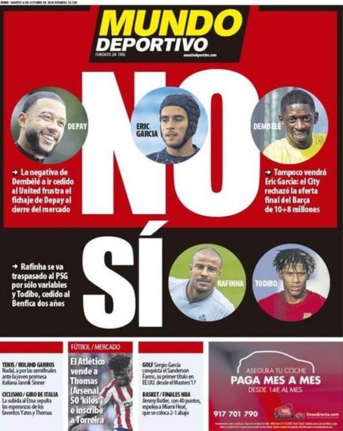 Portadas Diarios Deportivos Martes 6/10/2020