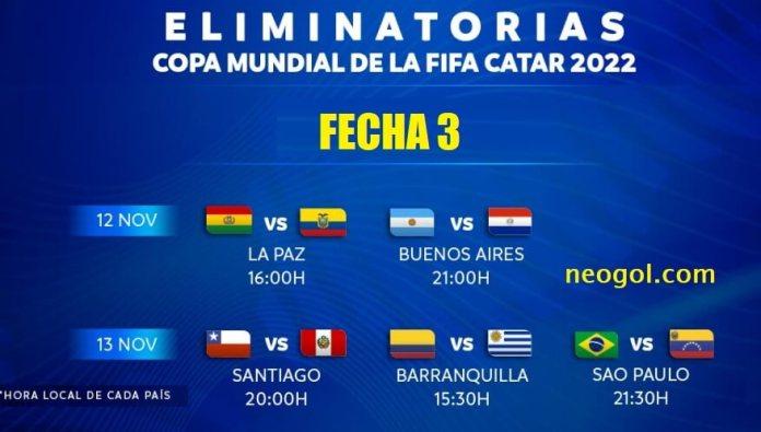 Eliminatorias Sudamericanas Fecha 3 | Horarios - Qatar 2022