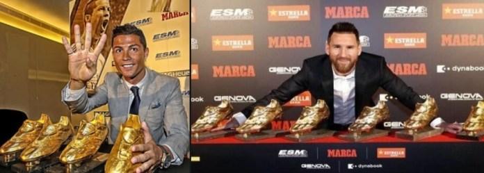 Messi y Cristiano con sus Botas de Oro
