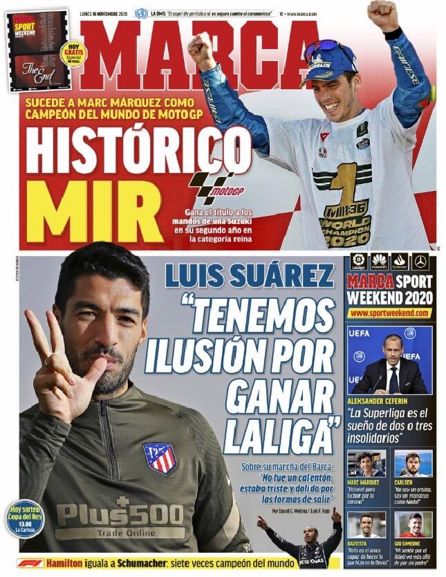 Portadas Diarios Deportivos Lunes 16/11/2020