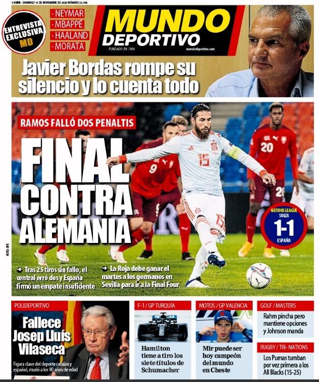 Portadas Diarios Deportivos Domingo 15/11/2020
