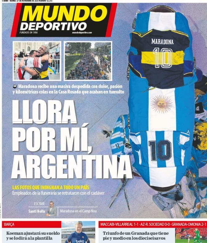 Portadas Diarios Deportivos Viernes 27/11/2020 maradona muerte
