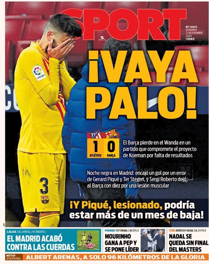 Portadas Diarios Deportivos Domingo 22/11/2020