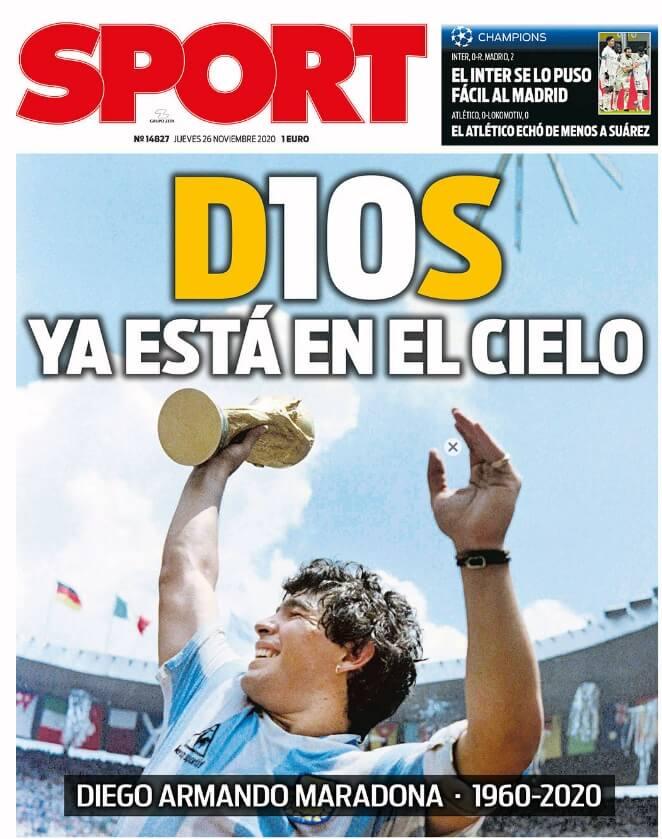Portadas Diarios Deportivos Jueves 26/11/2020 muerte diego maradona prensa mundial