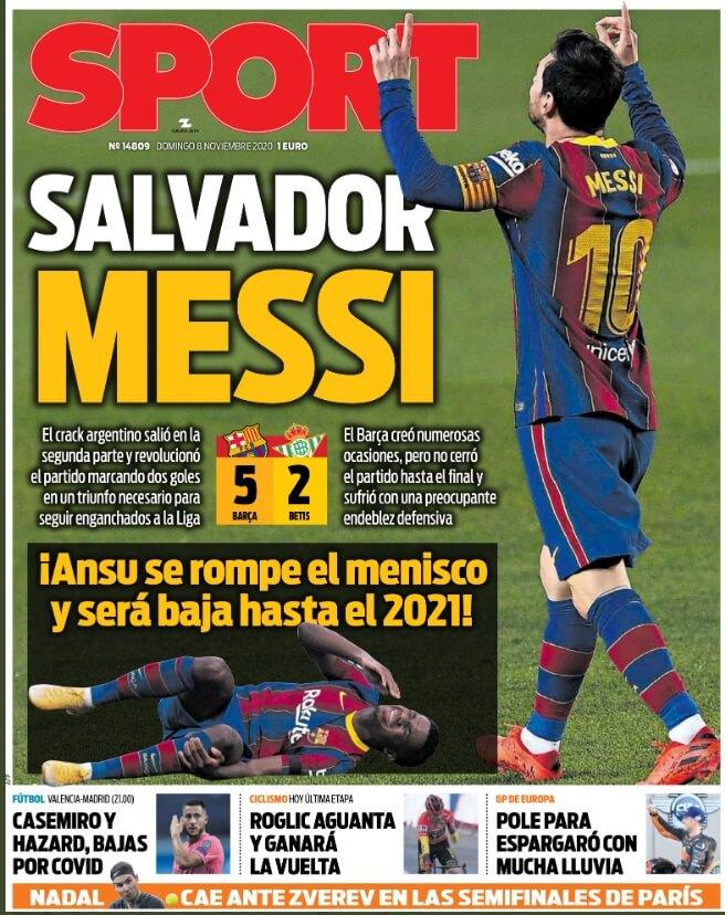 Portadas Diarios Deportivos Domingo 8/11/2020 | Marca, As, Sport, Mundo Deportivo