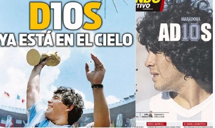 Portadas Diarios Deportivos Jueves 26/11/2020 muere maradona
