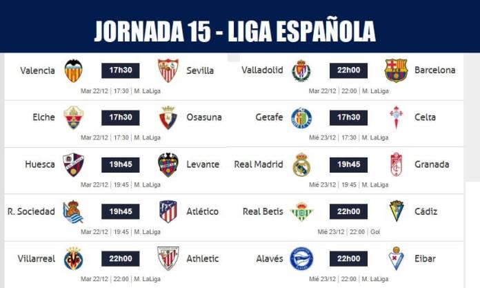 Partidos Jornada 15 Liga Española 2020