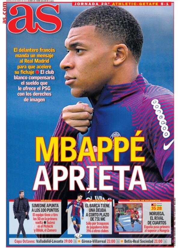 Portadas Diarios Deportivos Martes 26/1/2021