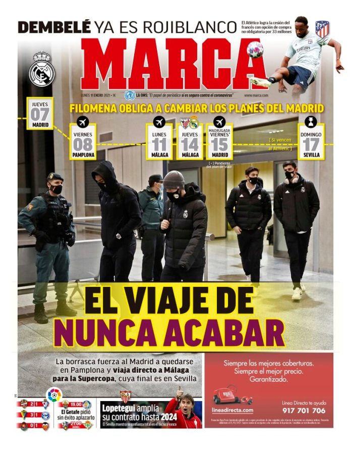 Portadas Diarios Deportivos Lunes 11/1/2021