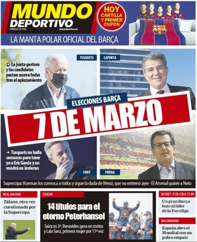 Portadas Diarios Deportivos Sábado 16/1/2021