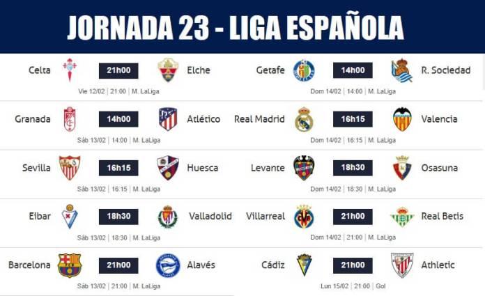 Partidos Jornada 23 Liga Española 2021