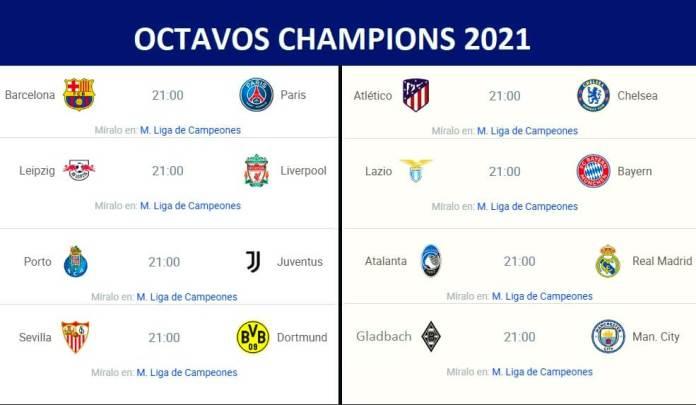 Partidos Octavos Champions League 2021 | Horarios y TV