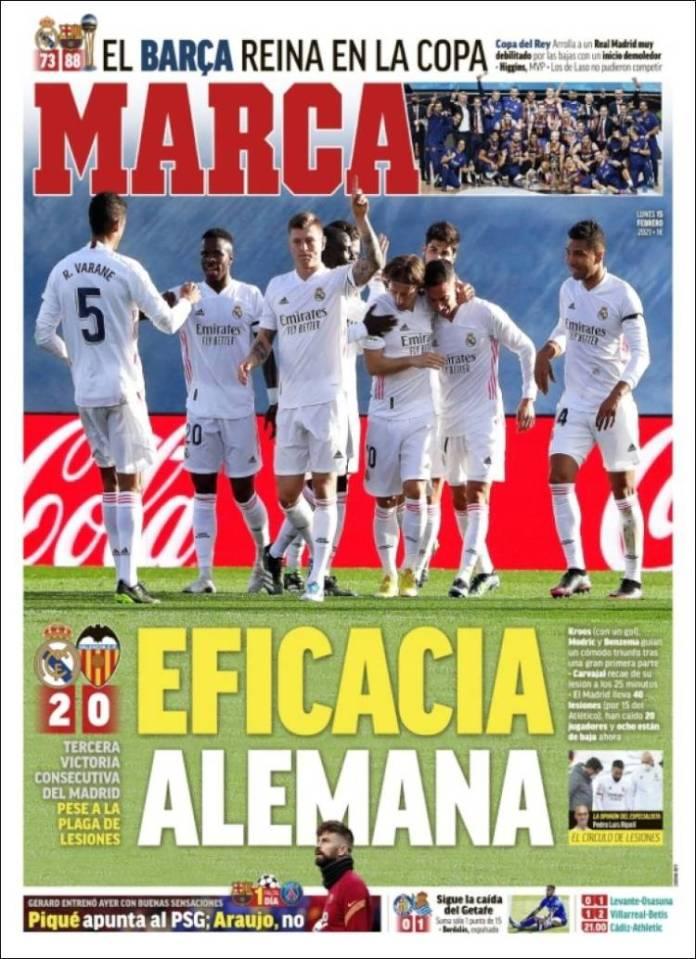 Portadas Diarios Deportivos Lunes 15/2/2021