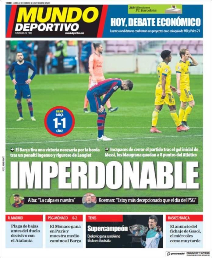 Portadas Diarios Deportivos Lunes 22/2/202