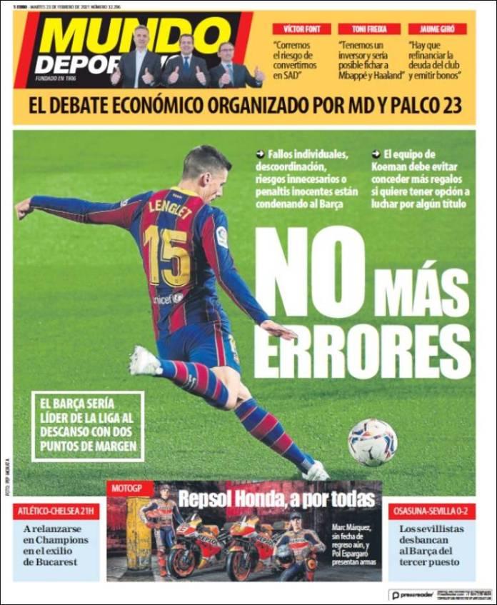 Portadas Diarios Deportivos Martes 23/2/2021