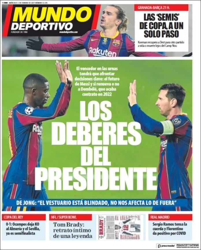 Portadas Diarios Deportivos Miércoles 3/2/2021
