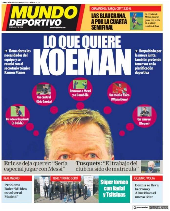Portadas Diarios Deportivos Miércoles 24/3/2021