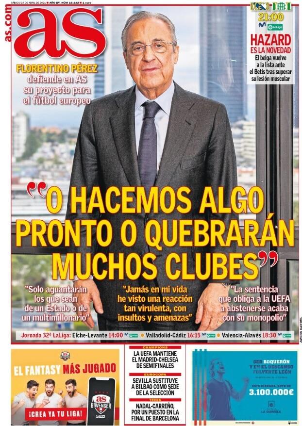 Portadas Diarios Deportivos Sábado 24/4/2021