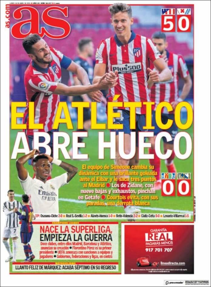 Portadas Diarios Deportivos Lunes 19/4/2021