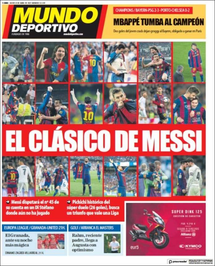 Portadas Diarios Deportivos Jueves 8/4/2021