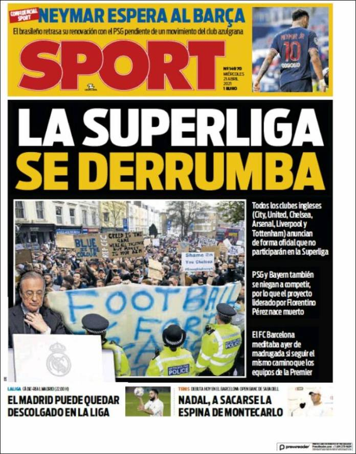 Portadas Diarios Deportivos Miércoles 21/4/2021