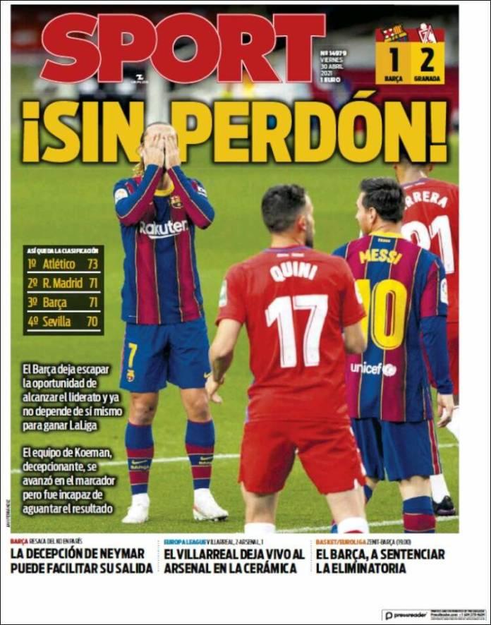 Portadas Diarios Deportivos Viernes 30/4/2021