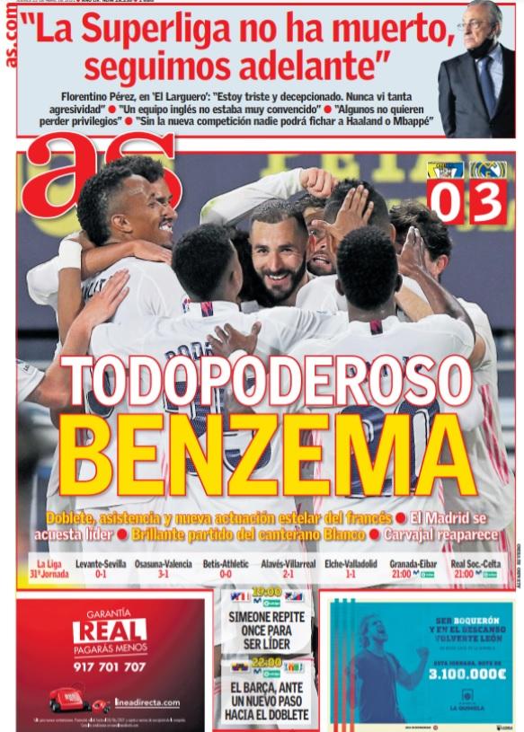 Portadas Diarios Deportivos Jueves 22/4/2021