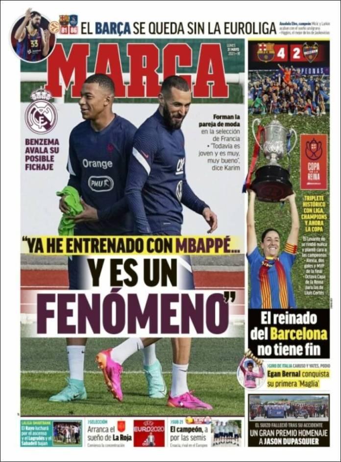 Portadas Diarios Deportivos Lunes 31/5/2021