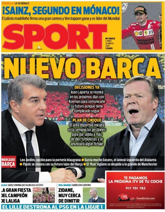 Portadas Diarios Deportivos Lunes 24/5/2021