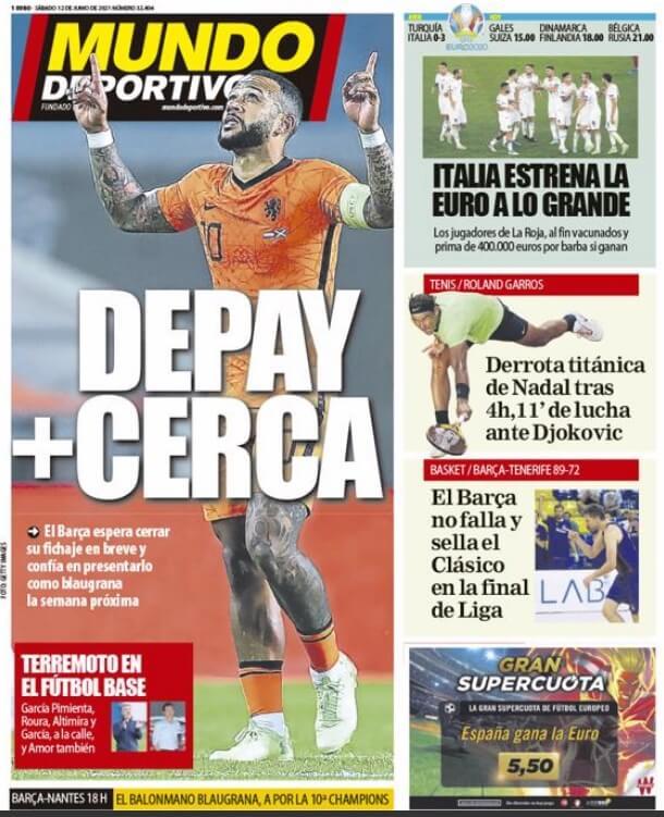 Portadas Diarios Deportivos Sábado 12/6/2021