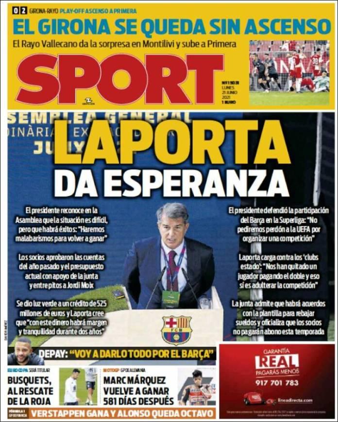 Portadas Diarios Deportivos Lunes 21/6/2021