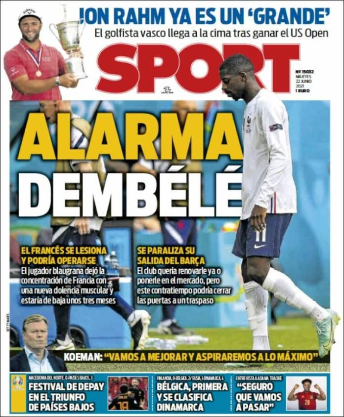 Portadas Diarios Deportivos Martes 22/6/2021