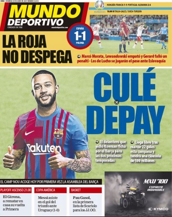 Portadas Diarios Deportivos Domingo 20/6/2021